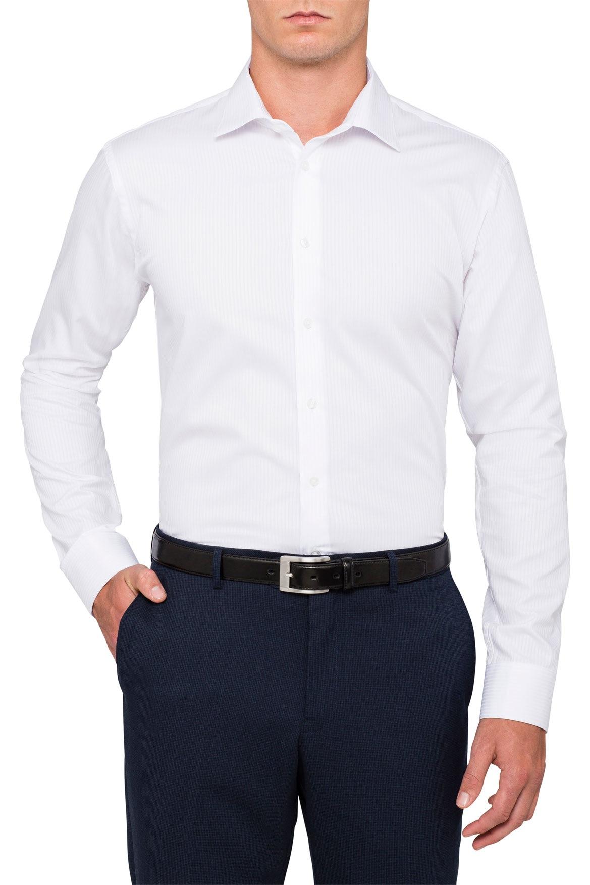Calvin Klein Steel | White Self Stripe Business Shirt | Myer Online
