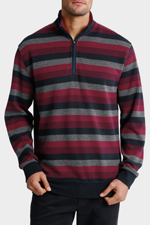 Back Bay - 1/2 Zip Stripe Sweat Top