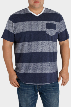 Jack Stone 3XL-7XL - Short Sleeve V Neck Block Stripe Tee