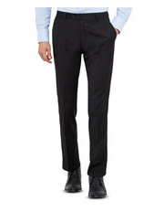 Black Wool Blend Flat Front Suit Trouser with Evercool Coldblack Technology