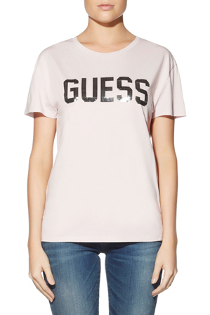 Guess - Short Sleeve Beaded Guess Tee