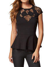 Guess - Short Sleeve Diamond Inset Top