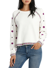 Scotch & Soda - Cropped Crewneck Sweat with Embroideries