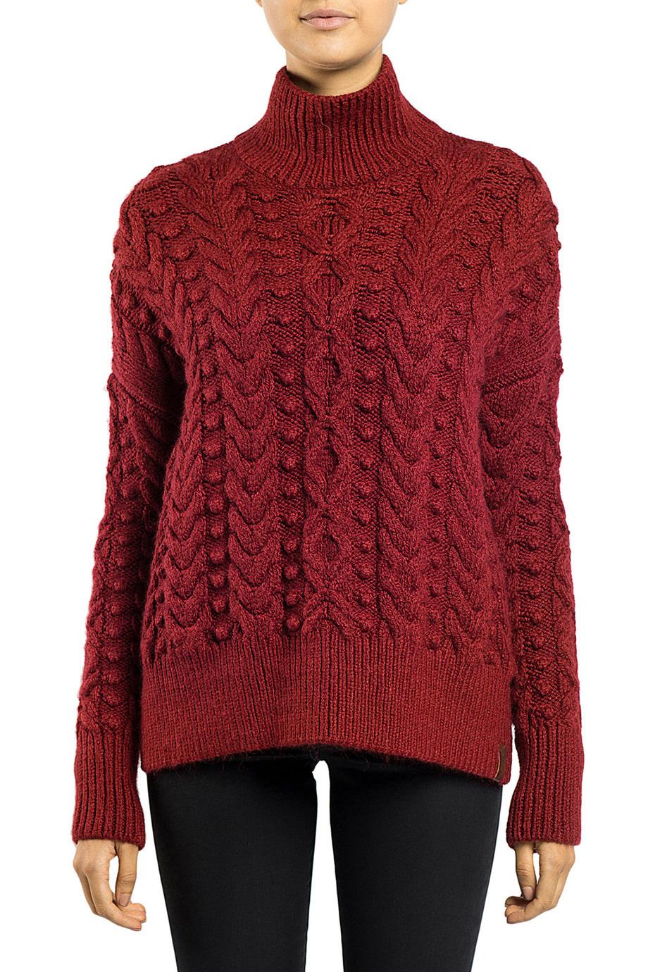 NEW Superdry Kiki Cable Knit Sweater Burgundy | eBay