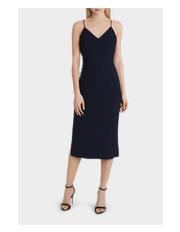 L Lisa Ho - Navy Fitted Midi Dress