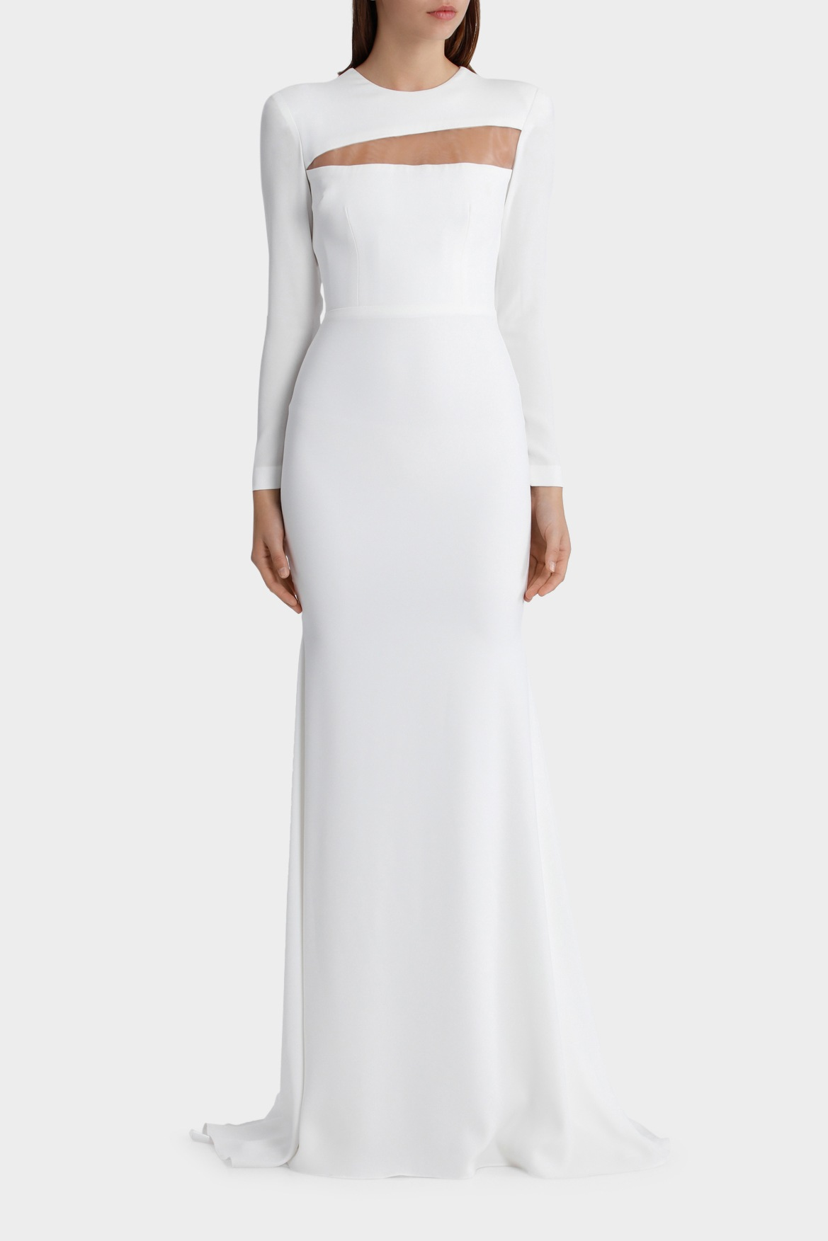 Alex Perry | Jordan - Satin Back Sheer Long Sleeve Gown | Myer Online