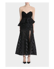 Nicola Finetti - Contrast Bodice Polka Dot Dress