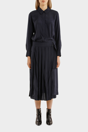 DKNY - Long Sleeve Collared Shirt Dress With Belt And Pleated Skirt