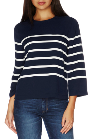 Nautica - 3/4 Sleeve Applique Striped Poplin Top