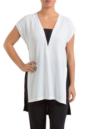PINGPONG - Drop Shoulder high Low Spliced Top