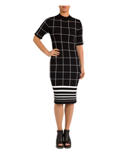 PINGPONG - Elbow Sleeve Grid Knit Dress