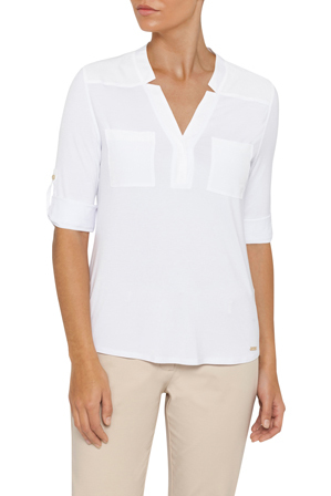 Calvin Klein White - White Label Shirt Knit, Hi/lo Roll Sleeve Mix Media