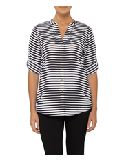 Calvin Klein White - Blouse Roll Sleeve Stripe