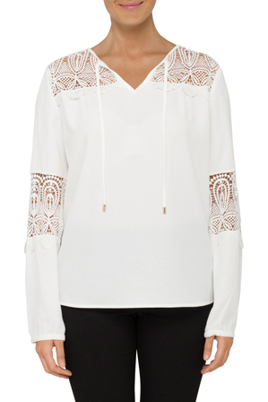 Calvin Klein White - Long Sleeve Lace Blouse