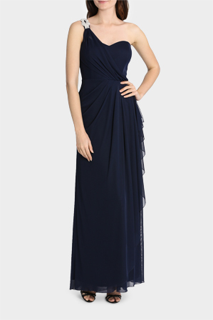 Mr K - Full Length Gown With Buckle Detail On Single Shoulder