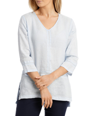 Jump - 3/4 Sleeve V Neck Linen Top