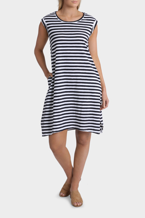 Yarra Trail - Sleeveless Round Neck Stripe Tank Dress