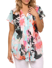 Yarra Trail Woman - Cap Sleeve Palm Print Shirt