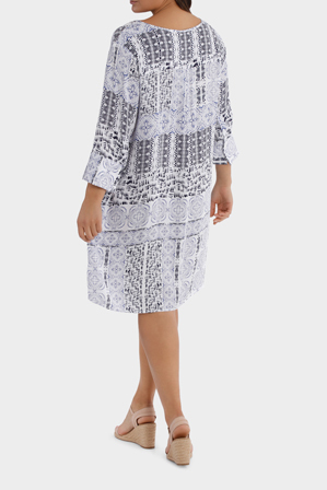 Yarra Trail Woman - 3/4 Sleeve Lisbon Print Dress