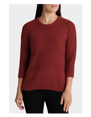 Regatta Petites - Essential Stripe Texture 3/4 Sleeve Jumper