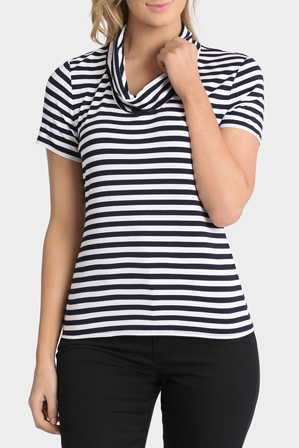Regatta Petites - Stripe Cowl Neck Short Sleeve Tee