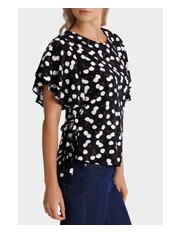 Hi There From Karen Walker - Cherry Print Ruffle Sleeve Top with Ties