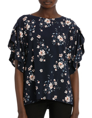 Hi There From Karen Walker - Print Flutter Slv Top