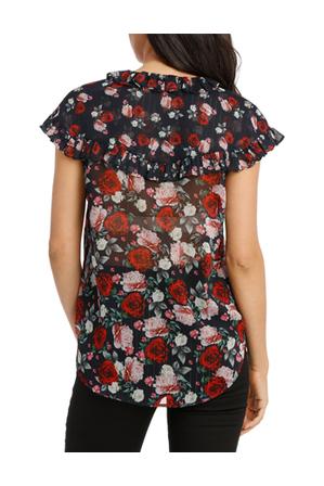 Hi There From Karen Walker - Scatter Rose Frill Cape Top