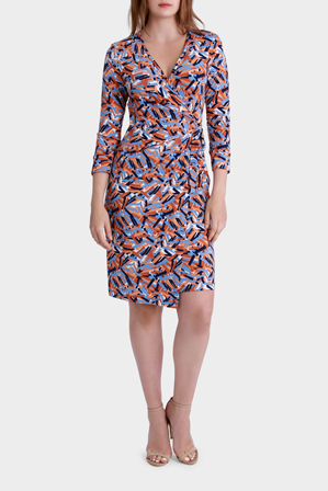 Leona by Leona Edmiston - Stick Print Wrap Long Sleeve Dress
