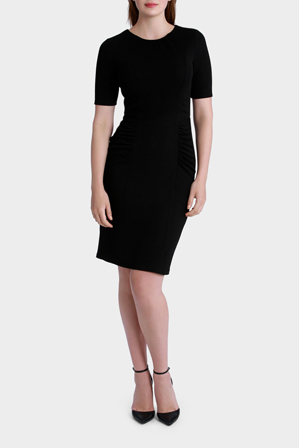 Leona by Leona Edmiston - Black Shift Dress with Ruching