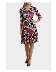 Leona by Leona Edmiston - Large Spot Floral Fit And Flare Dress