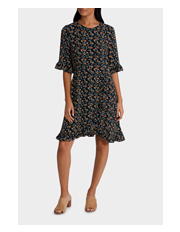 Hi There From Karen Walker - Spotted Leaf Dress with Ruffle Detail