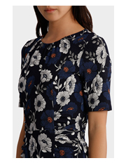 Leona by Leona Edmiston - Blue Dorothy Floral Print Dress W/ Ruching Detail
