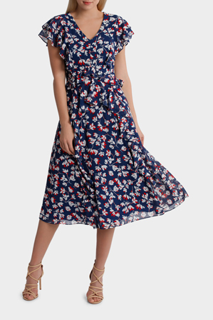 Hi There From Karen Walker - Mietta Floral Ruffle Midi Dress