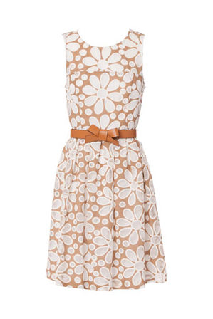 Hi There From Karen Walker - Daisy lace dress with tan bow belt
