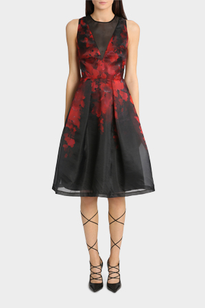 Jayson Brunsdon Black Label - Placement Waisteria Print Dress With Sheer Panel