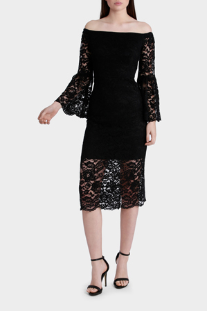 Jayson Brunsdon Black Label - Black Off-Shoulder Lace Dress
