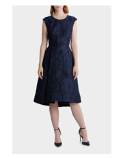 Jayson Brunsdon Black Label - Danielle Navy Rose Jacquard Dress