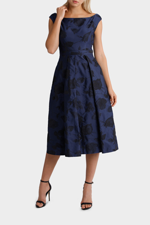 Jayson Brunsdon Black Label - Navy Sophia Off-Shoulder Jacquard Dress