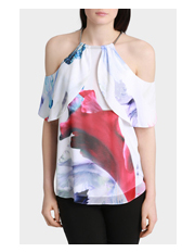 Wayne Cooper - Waterfall Lily Cold Shoulder Top