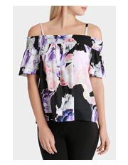 Wayne Cooper - Dimensional Floral Shirred Off Shoulder Top