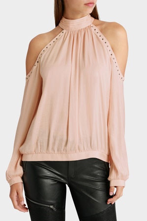 Wayne Cooper - High Neck Eyelet Cold Shoulder Top