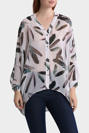 Wayne Cooper - Feather Print Oversized Batwing Top