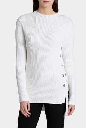 Wayne Cooper - Eyelet Trim Long Sleeve Knit Jumper