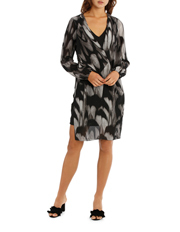 Feather Texture Batwing Drape Overlay Dress