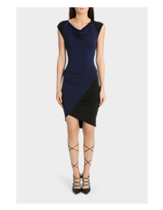 Black and Navy Spliced Jersey Dress