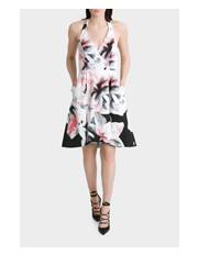 Wayne Cooper - Painterly Fit And Flare Halter Neck Dress