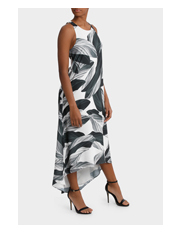 Wayne Cooper - Sleeveless Swing Dress Black and White Print