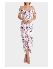 Wayne Cooper Events - Petal Rose Print Frill Off Shoulder Midi Dress