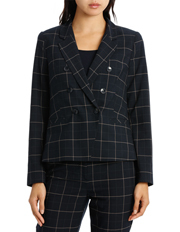 Basque - Double Breasted Navy Check Suit Jacket